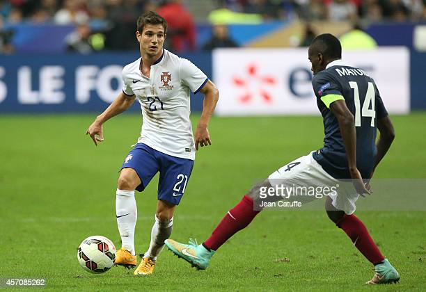 Cedric Soares of Portugal in action during the international friendly match between France and Portugal at Stade de France on October 11 2014 in...
