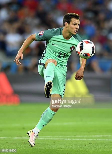 Cedric Soares of Portugal in action during the UEFA EURO 2016 semi final match between Portugal and Wales at Stade des Lumieres on July 6 2016 in...