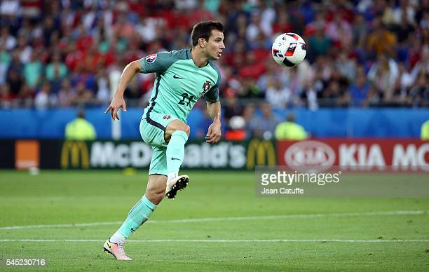 Cedric Soares of Portugal in action during the UEFA Euro 2016 semifinal between Wales and Portugal at Parc OL Stade des Lumieres on July 6 2016 in...