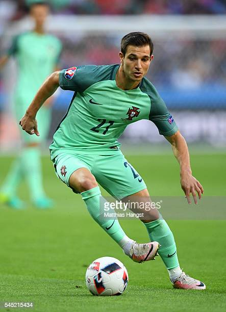 Cedric Soares of Portugal runs with the ball during the UEFA EURO 2016 semi final match between Portugal and Wales at Stade des Lumieres on July 6...