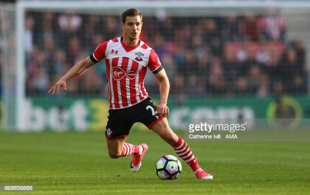 Cedric Soares of Southampton during the Premier League match between Southampton and Manchester City at St Mary's Stadium on April 15 2017 in...