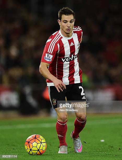 Cedric Soares of Southampton in action during the Barclays Premier League match between Southampton and Aston Villa at St Mary's Stadium on December...
