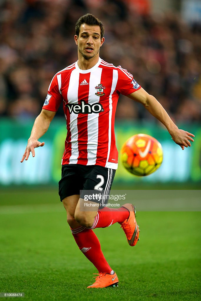 Cedric Soares of Southampton in action during the Barclays Premier League match between Swansea City and Southampton at the Liberty Stadium on February 13, 2016 in Swansea, Wales.