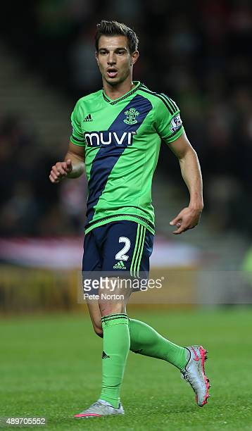 Cedric Soares of Southampton in action during the Capital One Cup Third Round match between MK Dons and Southampton at Stadium mk on September 23...