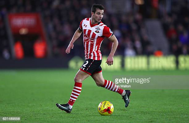 Cedric Soares of Southampton in action during the EFL Cup semifinal first leg match between Southampton and Liverpool at St Mary's Stadium on January...