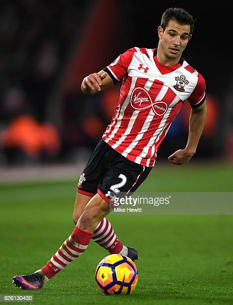 Cedric Soares of Southampton in action during the Premier League match between Southampton and Everton at St Mary's Stadium on November 27 2016 in...