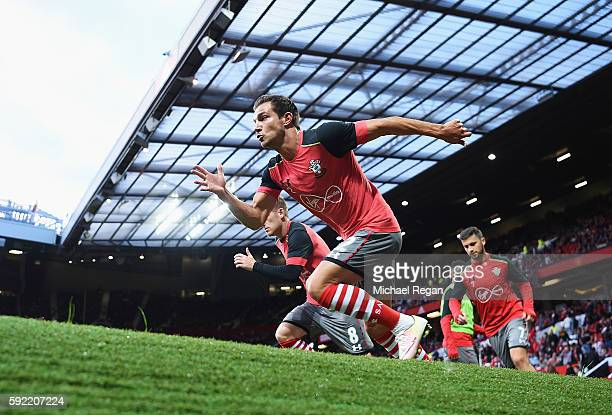 Cedric Soares of Southampton warms up prior to the Premier League match between Manchester United and Southampton at Old Trafford on August 19 2016...