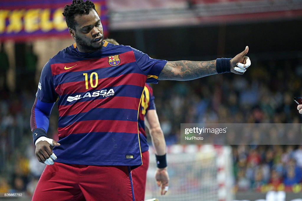 <a gi-track='captionPersonalityLinkClicked' href=/galleries/search?phrase=Cedric+Sorhaindo&family=editorial&specificpeople=564416 ng-click='$event.stopPropagation()'>Cedric Sorhaindo</a> during the match between FC Barcelona and Kiel, corresponding to the second round of the 1/4 final of the Champions League, played at the Palau Blaugrana, on april 30,2016.