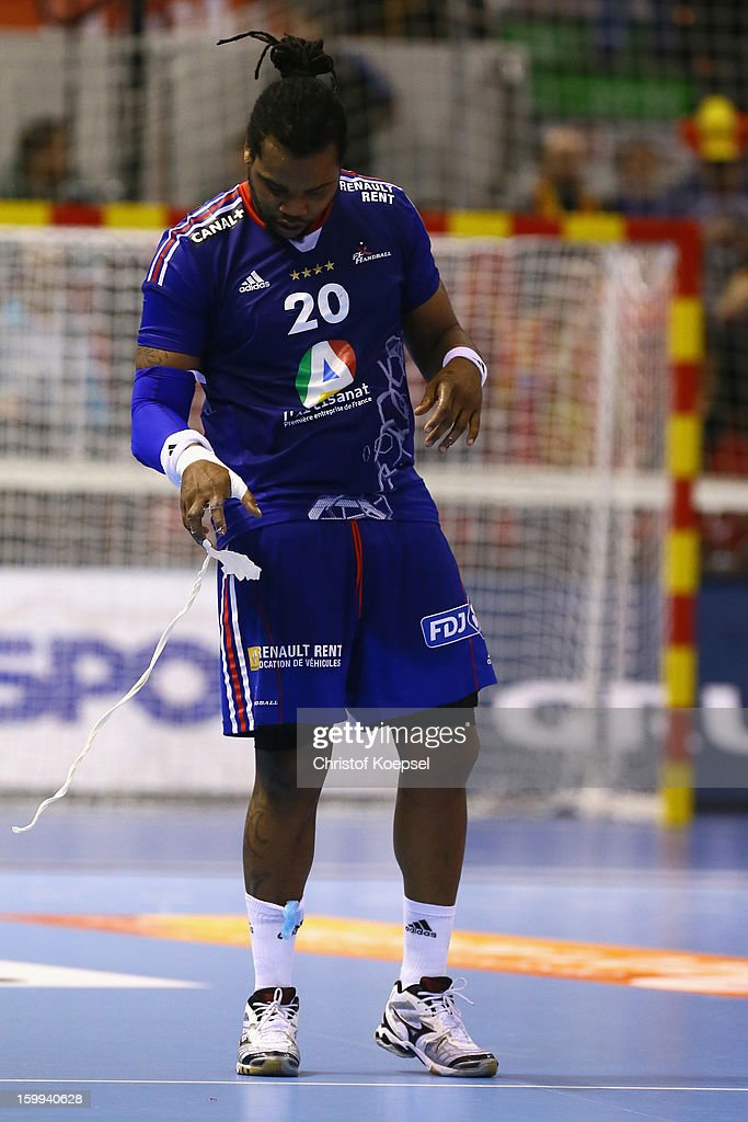Cedric Sorhaindo of France looks dejected during the quarterfinal match between France and Croatia at Pabellon Principe Felipe Arena on January 23, 2013 in Barcelona, Spain.