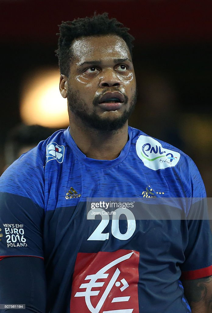 <a gi-track='captionPersonalityLinkClicked' href=/galleries/search?phrase=Cedric+Sorhaindo&family=editorial&specificpeople=564416 ng-click='$event.stopPropagation()'>Cedric Sorhaindo</a> of France looks on during the Men's EHF European Handball Championship 2016 between France and Denmark at Centennial Hall on January 29, 2016 in Wroclaw, Poland.