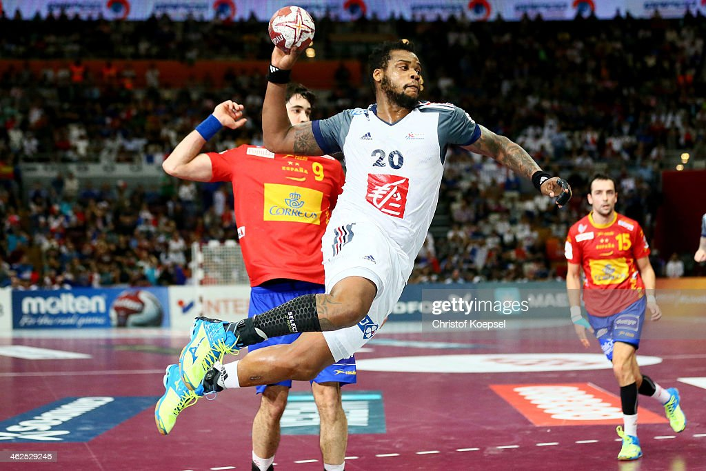 <a gi-track='captionPersonalityLinkClicked' href=/galleries/search?phrase=Cedric+Sorhaindo&family=editorial&specificpeople=564416 ng-click='$event.stopPropagation()'>Cedric Sorhaindo</a> of France scores a goal against during the semi final match between Spain and France at Lusail Multipurpose Hall during the Men's Handball World Championship on January 30, 2015 in Doha, Qatar.
