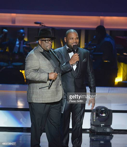 Cedric The Entertainer and Anthony Anderson onstage at the UNCF's An Evening With The Stars at Boisfeuillet Jones Atlanta Civic Center on April 6...