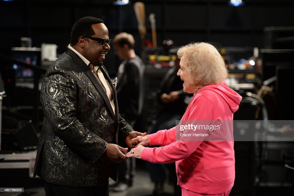Cedric the Entertainer (L) and Betty White appear onstage during 'The Soul Man' LIVE! at the CBS Studio Center on March 26, 2014 in Studio City, California.