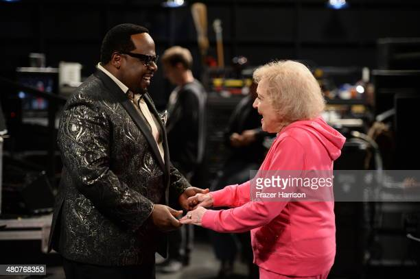 Cedric the Entertainer and Betty White appear onstage during 'The Soul Man' LIVE at the CBS Studio Center on March 26 2014 in Studio City California