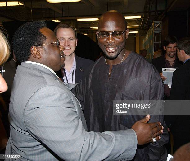 Cedric the Entertainer and George Weah during 2004 ESPY Awards Backstage and Audience at Kodak Theatre in Hollywood California United States