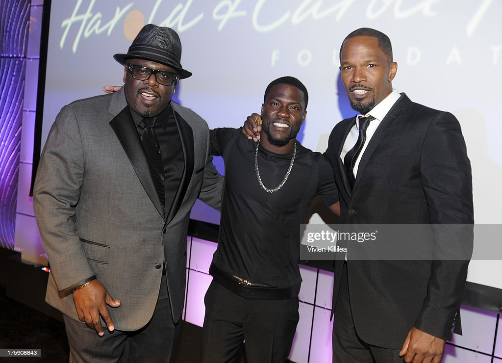 Cedric The Entertainer, Kevin Hart and Jamie Foxx attend 13th Annual Harold And Carole Pump Foundation Gala Honoring Jamie Foxx, Shaquille O'Neal, And Joe Torre at The Beverly Hilton Hotel on August 9, 2013 in Beverly Hills, California.