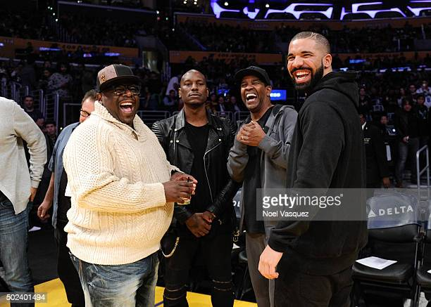 Cedric the Entertainer Tyrese Gibson Denzel Washington and Drake attend a basketball game between the Oklahoma City Thunder and the Los Angeles...