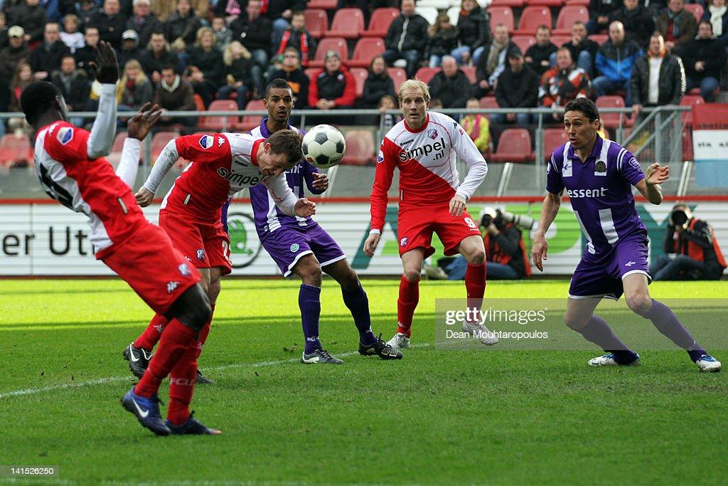 Cedric van der Gun of Utrecht heads and scores his teams second goal of the game during the Eredivisie match between FC Utrecht and FC Groningen on...