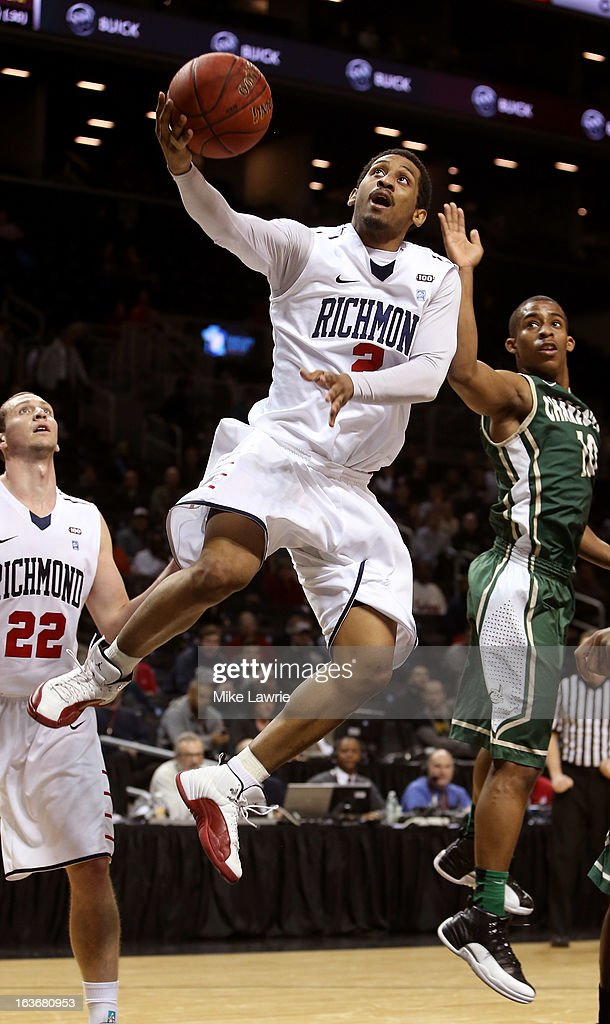 Cedrick Lindsay #2 of the Richmond Spiders drives to the basket against the Charlotte 49ers in the second half during the first round of the Atlantic 10 basketball tournament at Barclays Center on March 14, 2013 in New York City.