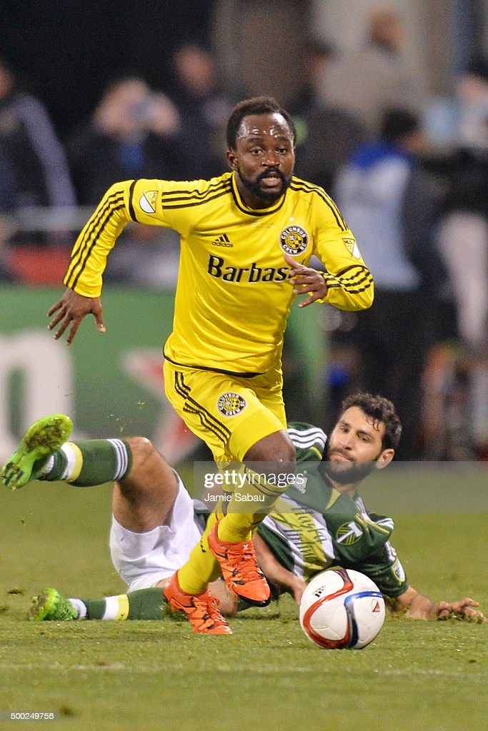 Cedrick Mabwati #11 of the Columbus Crew SC takes off upfield with the ball after leaving behind Diego Valeri #8 of the Portland Timbers in the second half on December 6, 2015 at MAPFRE Stadium in Columbus, Ohio. Portland defeated Columbus Crew SC 2-1 to claim the MLS Cup title.