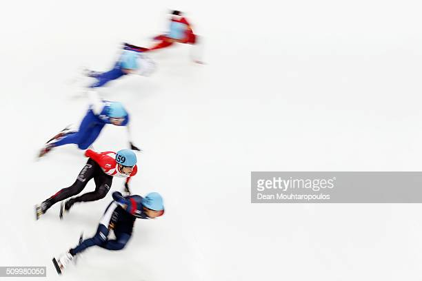 Cedrik Blais of Canada competes in the Mens 1000m Quarter Final during ISU Short Track Speed Skating World Cup held at The Sportboulevard on February...