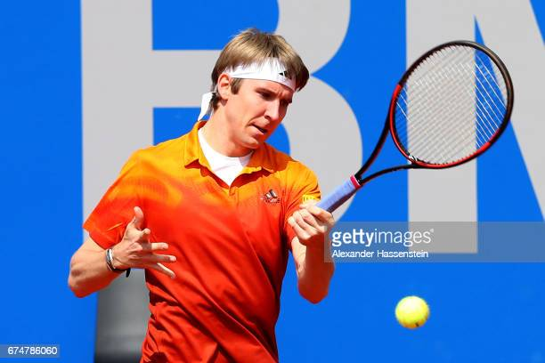 CedrikMarcel Stebe of Germany during his qualification match against Julien Benneteau of France for the 102 BMW Open by FWU at Iphitos tennis club on...