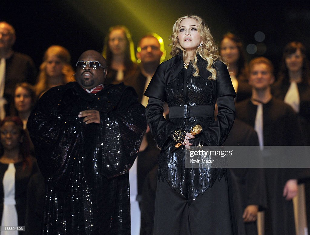 Cee Lo Green and <a gi-track='captionPersonalityLinkClicked' href=/galleries/search?phrase=Madonna+-+Singer&family=editorial&specificpeople=156408 ng-click='$event.stopPropagation()'>Madonna</a> perform during the Bridgestone Super Bowl XLVI Halftime Show at Lucas Oil Stadium on February 5, 2012 in Indianapolis, Indiana.