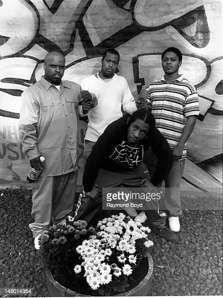 Cee Lo Green Khujo TMo and Big Gipp of hiphop group Goodie Mob poses for photos at George's Music Room in Chicago Illinois in OCTOBER 1995