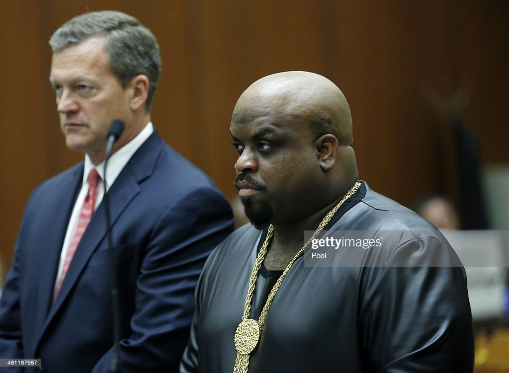 Cee Lo Green (L), singer and coach on the television show 'The Voice', appears in court with his attorney Thomas O'Brien on March 28, 2014, in Los Angeles, California. Green has been accused of slipping ecstasy to a woman through her drink at dinner in a downtown L.A. restaurant.