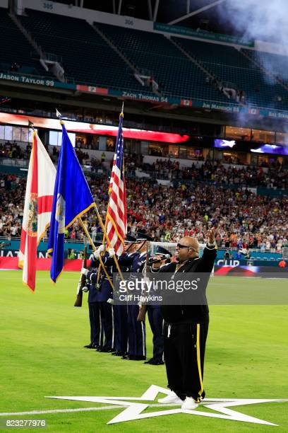 Cee Lo Green sings the National Anthem prior to the International Champions Cup 2017 match between the Juventus and the Paris SaintGermain at Hard...