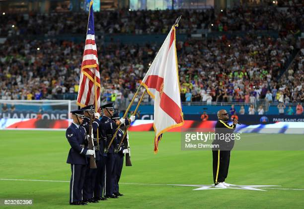 Cee Lo Green sings thr National Anthem during the International Champions Cup 2017 match beteween Juventus and Paris SaintGermain at Hard Rock...