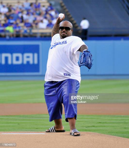 Cee Lo Green throws out the ceremonial first pitch before the MLB game between the Chicago Cubs and Los Angeles Dodgers at Dodger Stadium on August...