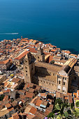 Cefalu Cathedral seen from above, Arab-Norman architecture in Sicily. Italy