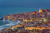 Cefalu at the north coast of Sicily at twilight