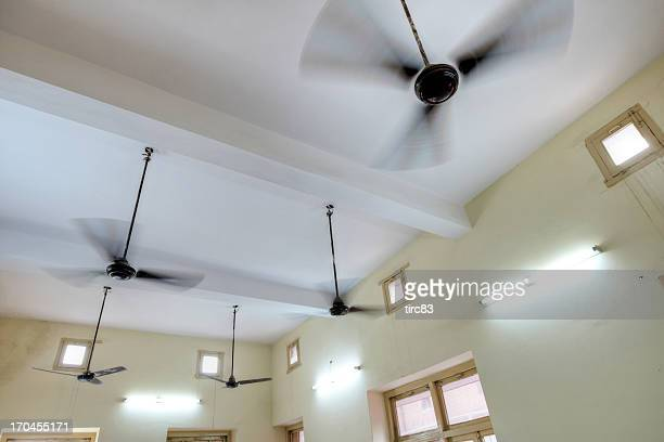 Ceiling fans rotating inside room