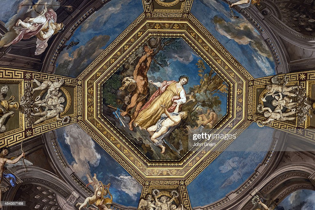 Ceiling fresco depicting Apollo and Muses Sala delle Muse Room of the Muses at the Vatican Museum
