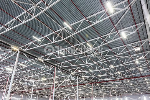 ceiling lamps with diode lighting in a modern warehouse stock photo
