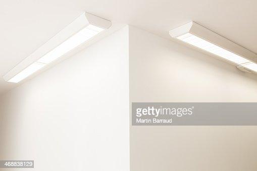 Ceiling lights in corner of office