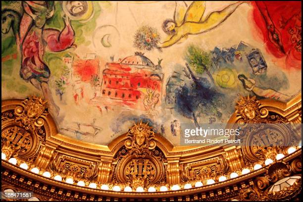 Ceiling of the opera painted by Chagall Arop gala at the Garnier opera with a ballet representation by John Neumeier 'La Dame Aux Camelias' according...