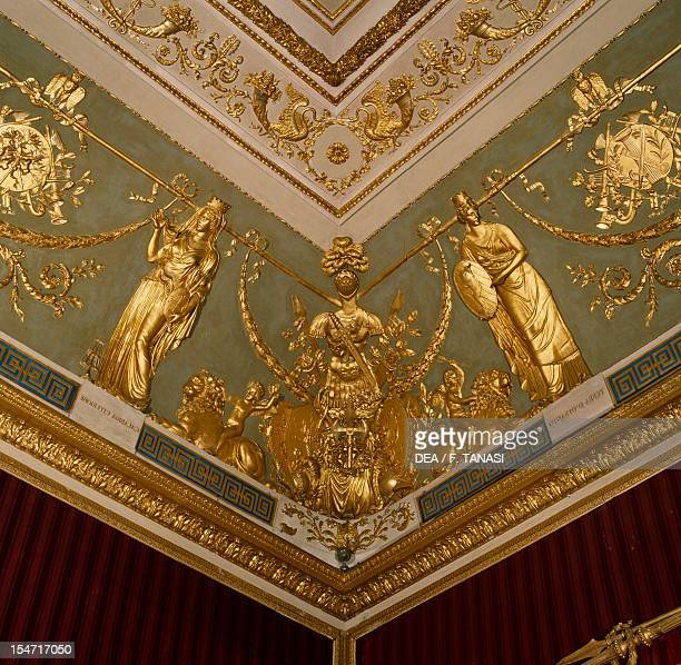 Ceiling of the Throne Room with stuccoes by Andrea Cariello Cosimo De Rosa and Costantino Beccalli Royal Palace of Naples Campania Italy 19th century
