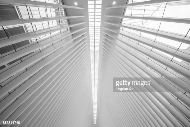 Ceiling view of the Oculus, World Trade Center Transportation Hub, New York
