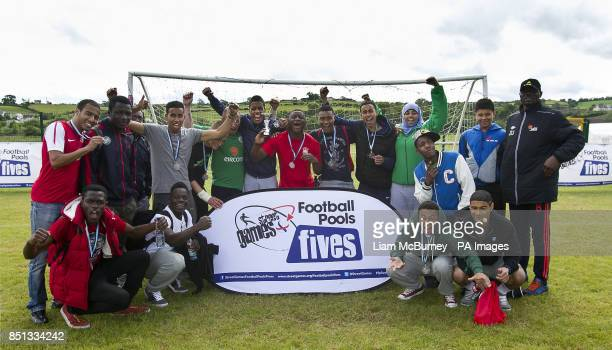 SARI 1 celebrate becoming runnersup in the Plate Final during the Cup Final between during the StreetGames Football Pools Fives at the Billy Neill...
