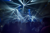 Celebrate, Christmas , New Year Party Concept for Background. Light Show Bokeh in Concert Club Night in Holiday.