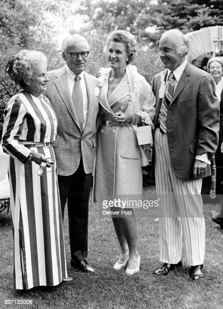 Celebrate French Holiday Chatting in the garden at the Bastille Day party were from left hostess Mrs Benjamin Stapleton Jr Mr and Mrs Donald...