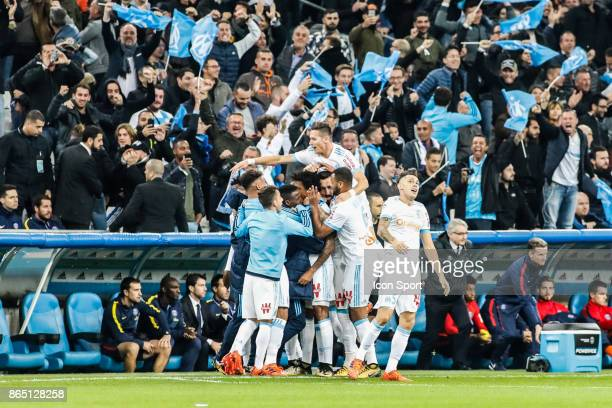 Celebrate goal Luiz Gustavo of Marseille during the Ligue 1 match between Olympique Marseille and Paris Saint Germain at Stade Velodrome on October...