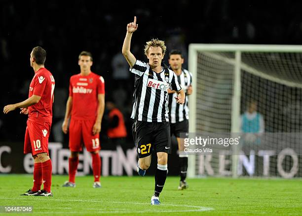Celebrate of Milos Krasic of Juventus FC after the first goal during the Serie A match between Juventus and Cagliari at Olimpico Stadium on September...