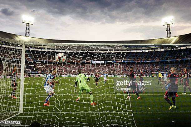 Celebrate pec zwolle Bram van Polen 51 during the Dutch Cup final match between Pec Zwolle and Ajax Amsterdam on April 20 2014 at the Kuip stadium in...