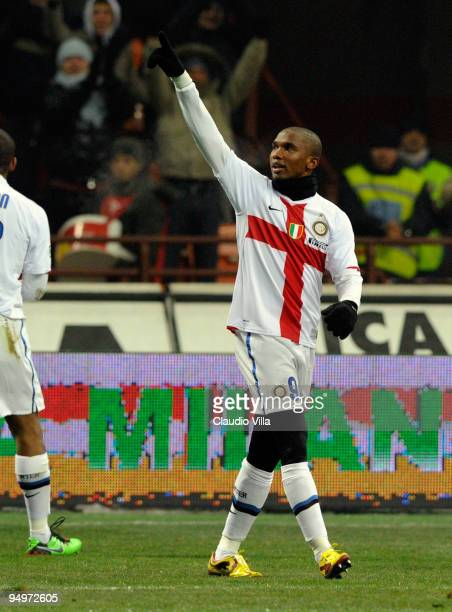 Celebrates of Samuel Eto'o of FC Internazionale Milano celebrates after scoring the opening goal during the Serie A match between Inter Milan and SS...