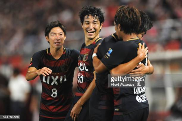 ANTLERS celebrates scoring his side's first goal with his team mate SHOMA DOI OF KASHIMA ANTLERS during during the JLeague J1 match between Kashima...