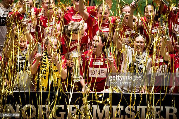 LSK celebrates victory after winning the Norwegian Cup Final woman match between LSK Kvinner and Trondheims Orn at Telenor Arena on November 22 2014...